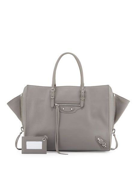 Balenciaga Papier B4 AJ Zip-Around Tote Bag, Gray