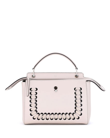 Fendi Dotcom Medium Whipstitch Satchel Bag, Powder Pink