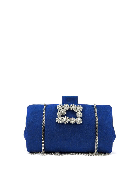 Soft Embellished Flowers Glitter Clutch Bag