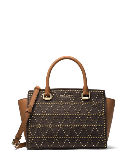 MICHAEL Michael Kors Selma Medium Studded Twill Satchel
