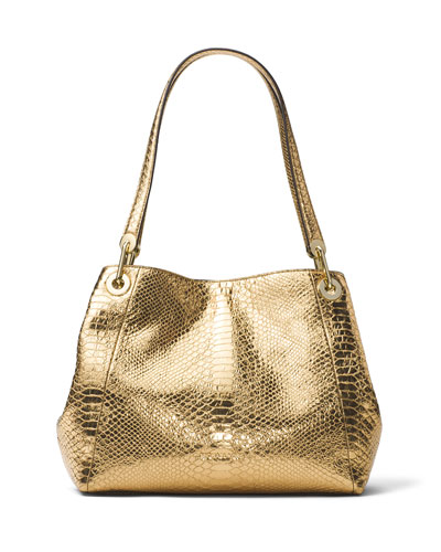 Raven Large Snake-Embossed Shoulder Tote Bag