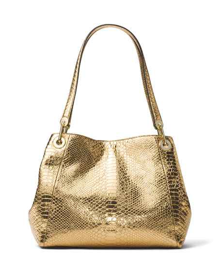 MICHAEL Michael Kors Raven Large Snake-Embossed Shoulder Tote