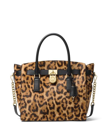 MICHAEL Michael Kors Hamilton Large Leopard Satchel Bag,