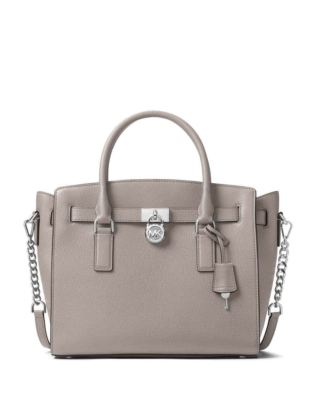 f5d01f53b494cb MICHAEL Michael Kors Hamilton Large East-West Leather Satchel Bag with  Silvertone Hardware