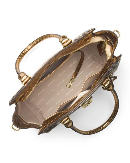 Hamilton Large East-West Embossed Leather Satchel Bag