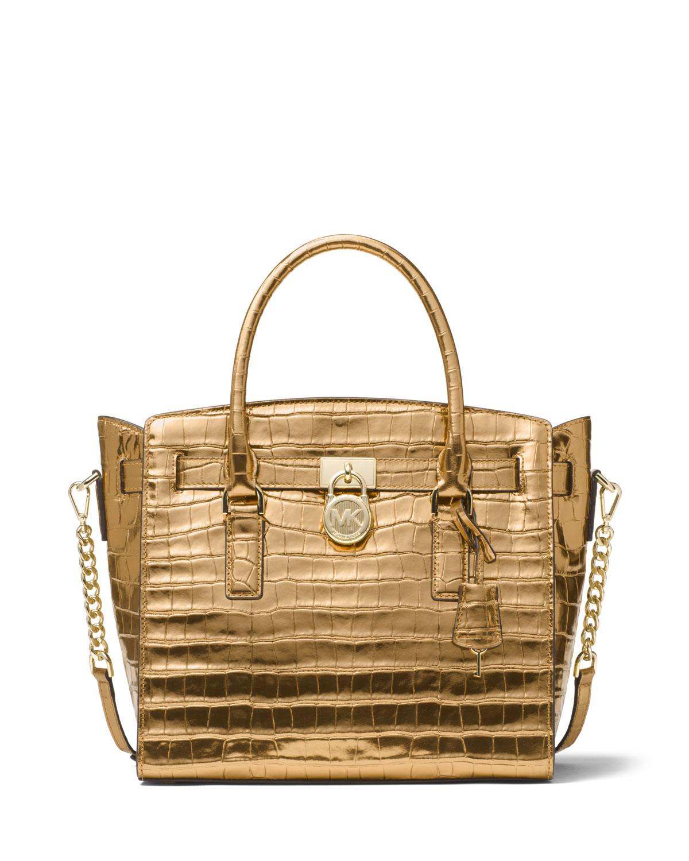 8886e1906426 MICHAEL Michael Kors Hamilton Large East-West Embossed Leather Satchel Bag