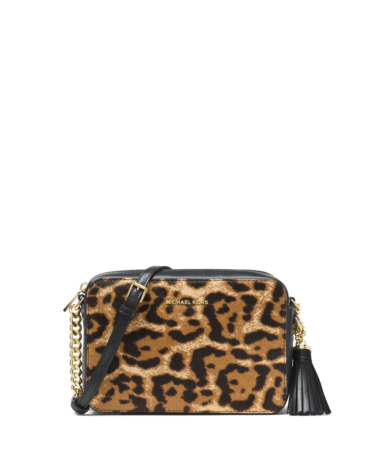Ginny Medium Leopard Print Calf Hair Camera Bag