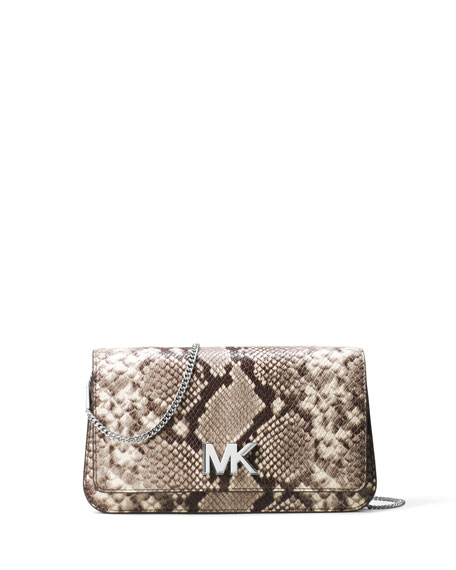 Mott Python-Embossed Clutch Bag