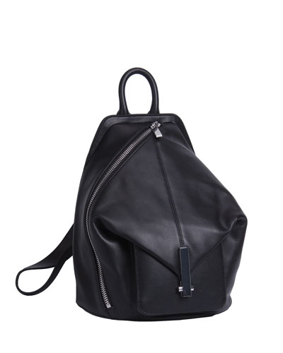 Koenji Leather Asymmetric Backpack, Black