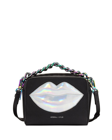 Kendall + Kylie Lucy Lips Crossbody Bag, Black/Silver