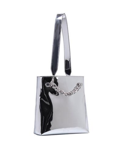 Van Metallic Chain Clutch Bag w/Strap, Silver Specchio