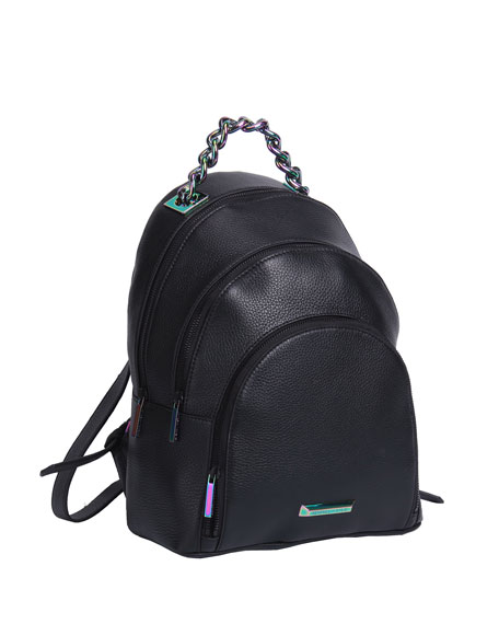 Sloane Leather Iridescent Backpack, Black