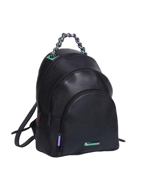 Sloane Leather Iridescent Backpack, Black