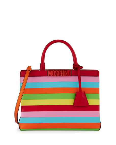 Moschino Striped Leather Logo Tote Bag, Multi