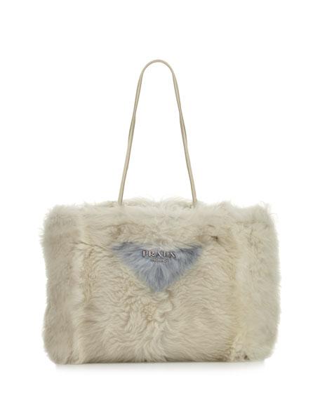 Prada Large Shearling Fur Shoulder Tote Bag