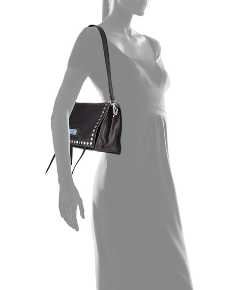 Small Studded Glace Calf Etiquette Shoulder Bag