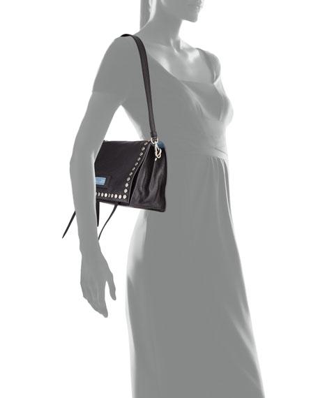 Small Studded Glace Calf Etiquette Shoulder Bag