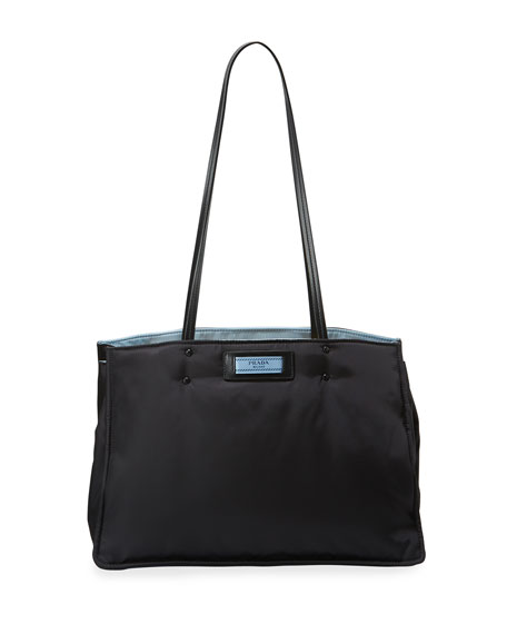 Prada Tessuto Large Double Shoulder Tote Bag