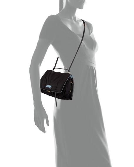 Etiquette Large Nylon Flap Crossbody Bag