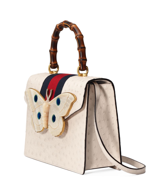 acf59100b Gucci Falena Medium Ostrich Top-Handle Bag with Moth | Neiman Marcus