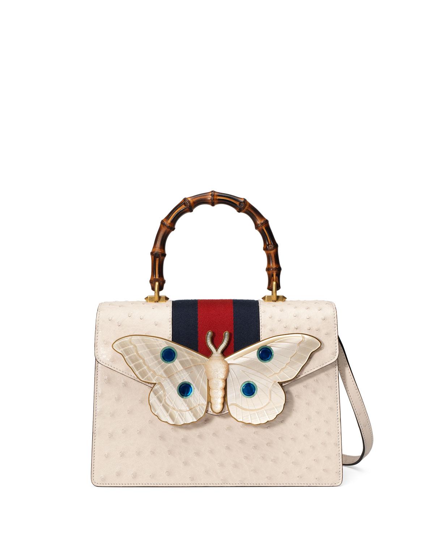 dd878bb3646 Gucci Falena Medium Ostrich Top-Handle Bag with Moth