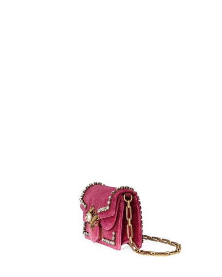 Broadway Small Velvet Bee Shoulder Bag