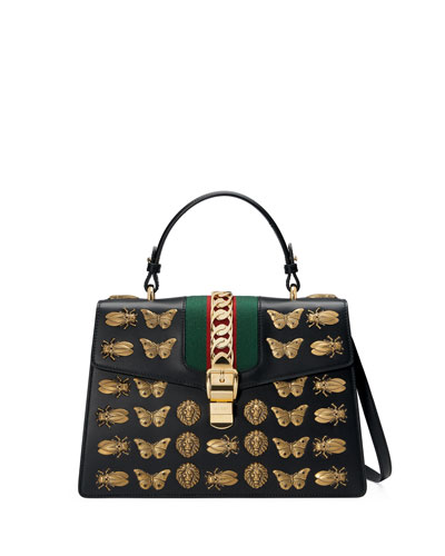 Sylvie Medium Top-Handle Satchel Bag with Insect Embellishments