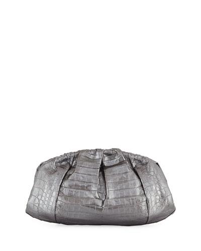Ruched Metallic Crocodile Clutch Bag