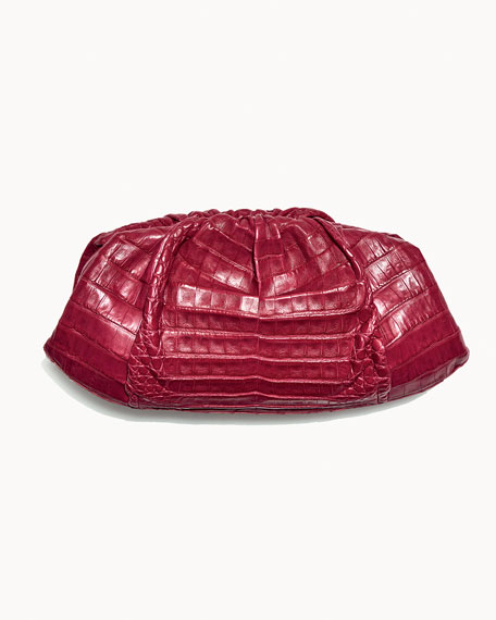 Ruched Crocodile Clutch Bag