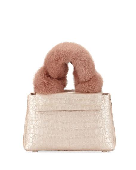 Nancy Gonzalez Mini Mink-Fur Knot Handle Bag