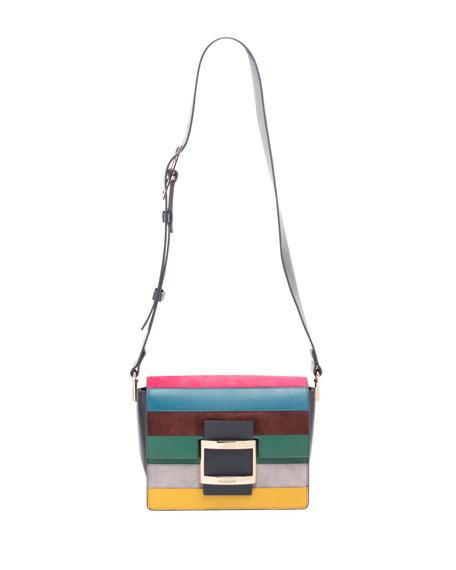 Roger Vivier Viv Cabas Mini Striped Crossbody Bag