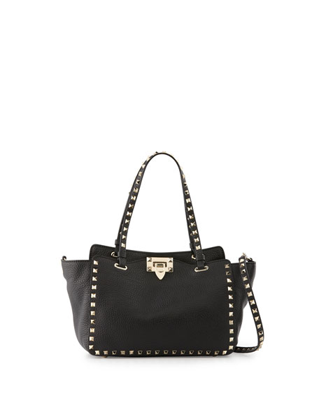 Valentino Rockstud Grain Small Tote Bag, Black