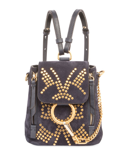 Chloe Faye Mini Studded Leather/Suede Backpack