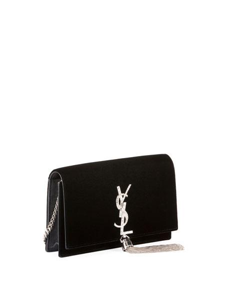 Toy Kate Monogram Small Tassel Velvet Crossbody Bag