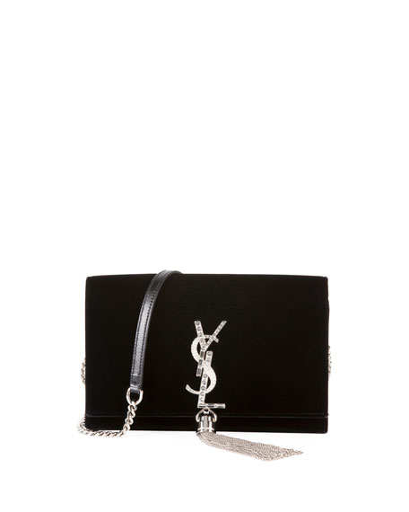 Kate Toy Small Crystal-Monogram Ysl Tassel Velvet Wallet On A Chain Bag - Miroir Hardware in Black