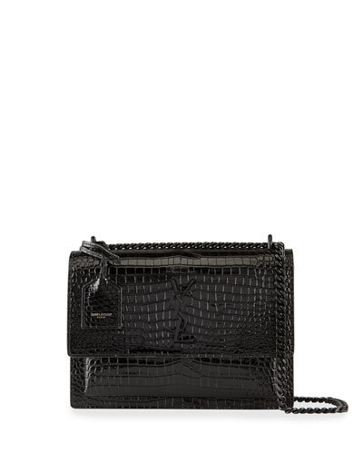 Sunset Medium Monogram Croc-Embossed Shoulder Bag