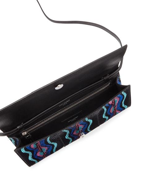 Fetiche Small Snakeskin Flap Clutch Bag