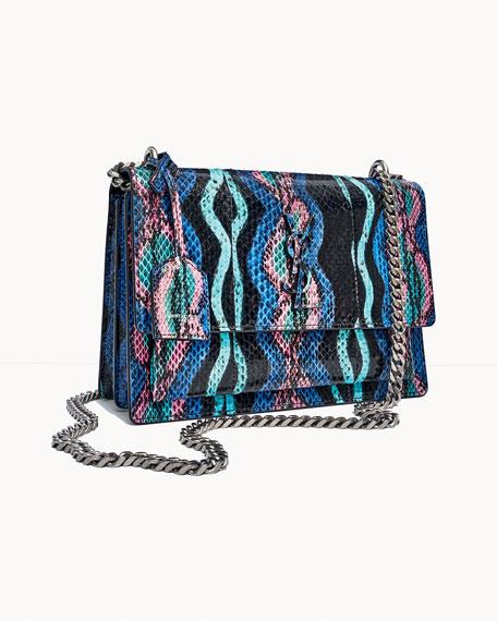 Sunset Medium Curvy Striped Snakeskin Crossbody Bag
