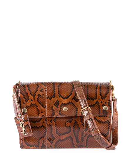 Noe Medium 3-Snap Python Shoulder Bag