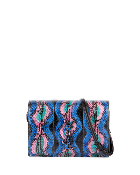 Saint Laurent Toy Kate Monogram Snakeskin Wallet on