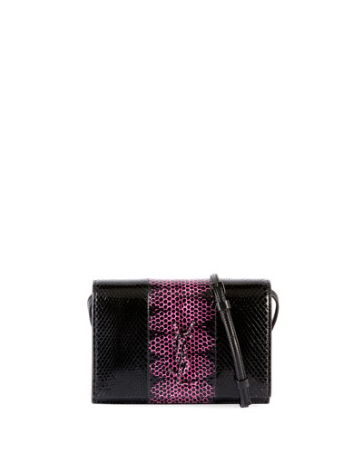 Toy Kate Monogram Two-Tone Snakeskin Wallet on a Strap