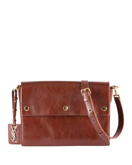 Noe Medium Leather 3-Snap Flap Shoulder Bag