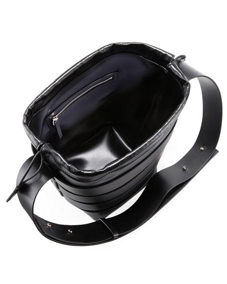 Cage Small Calfskin Hobo Bag, Black