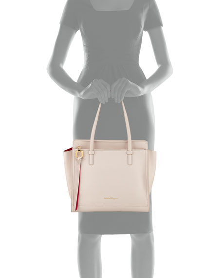 Medium Amy Leather Double-Face Tote Bag