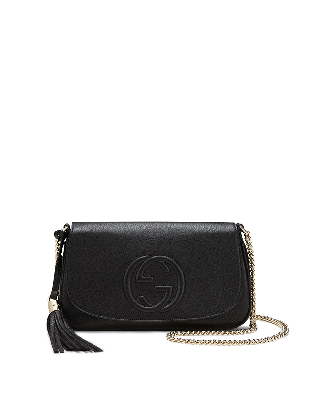 96140bc8bf61db Gucci Soho Medium Leather Shoulder Bag, Black | Neiman Marcus