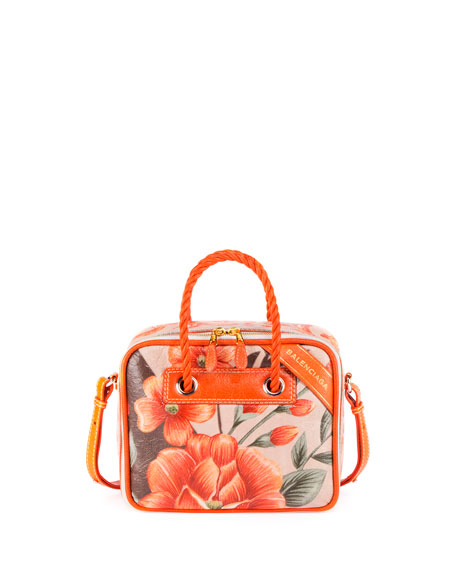 Balenciaga Blanket Square Medium Floral Shoulder Bag