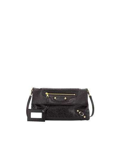 Giant 12 Golden Envelope Clutch Bag with Strap, Black