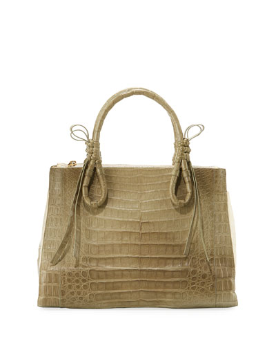 Crocodile Large Knotted Top-Handle Bag