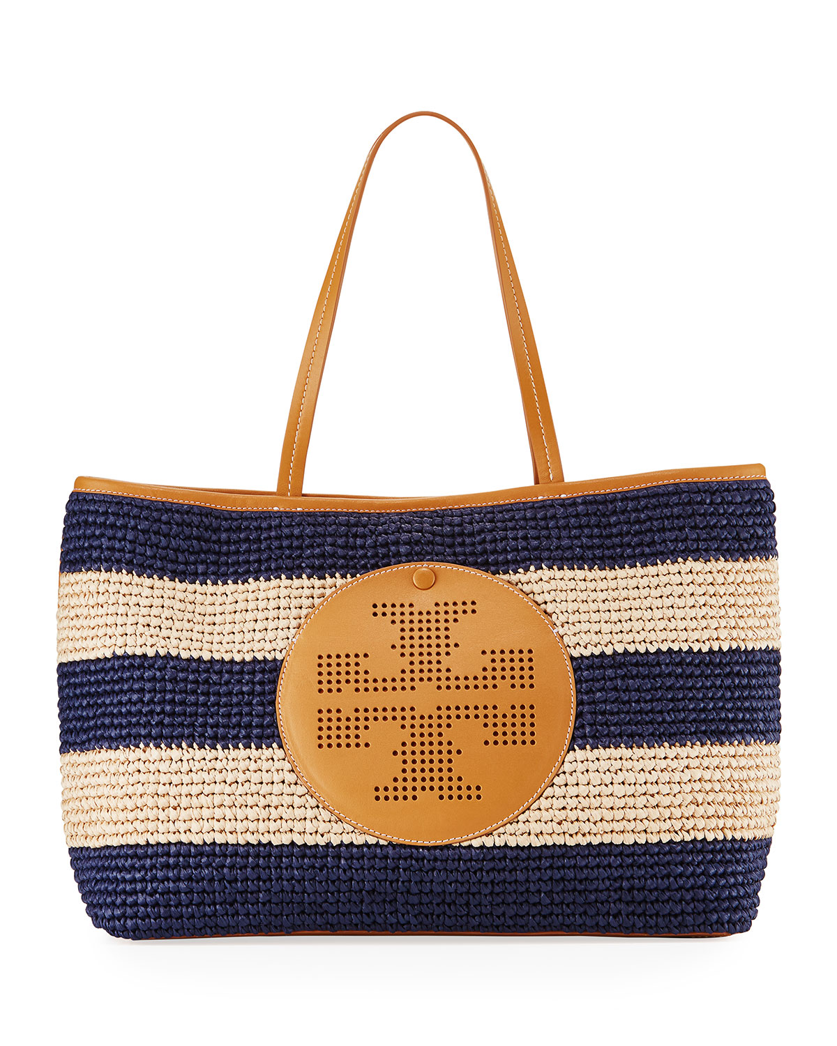 e917700d310c Tory Burch Straw Perforated Logo Tote Bag