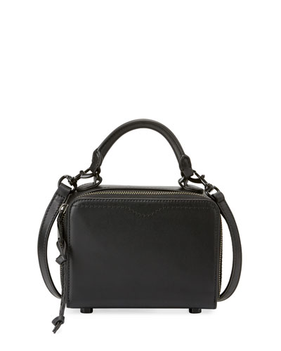Leather Box Crossbody Bag, Black